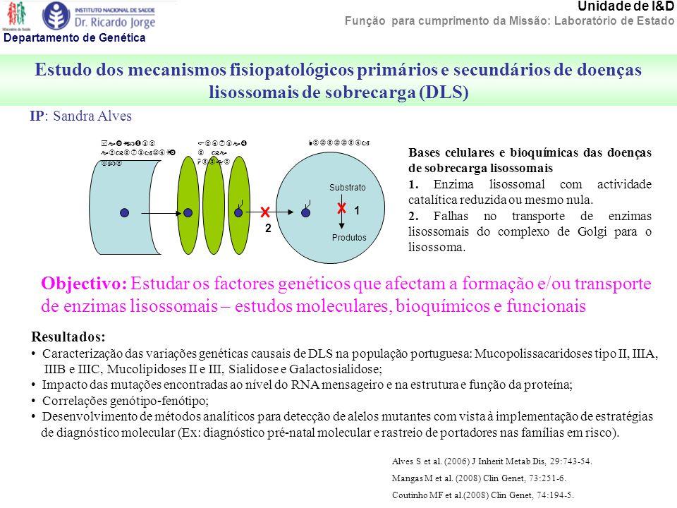 Unidade de I&D Função para cumprimento da Missão: Laboratório de Estado Estudo dos mecanismos fisiopatológicos primários e secundários de doenças liso