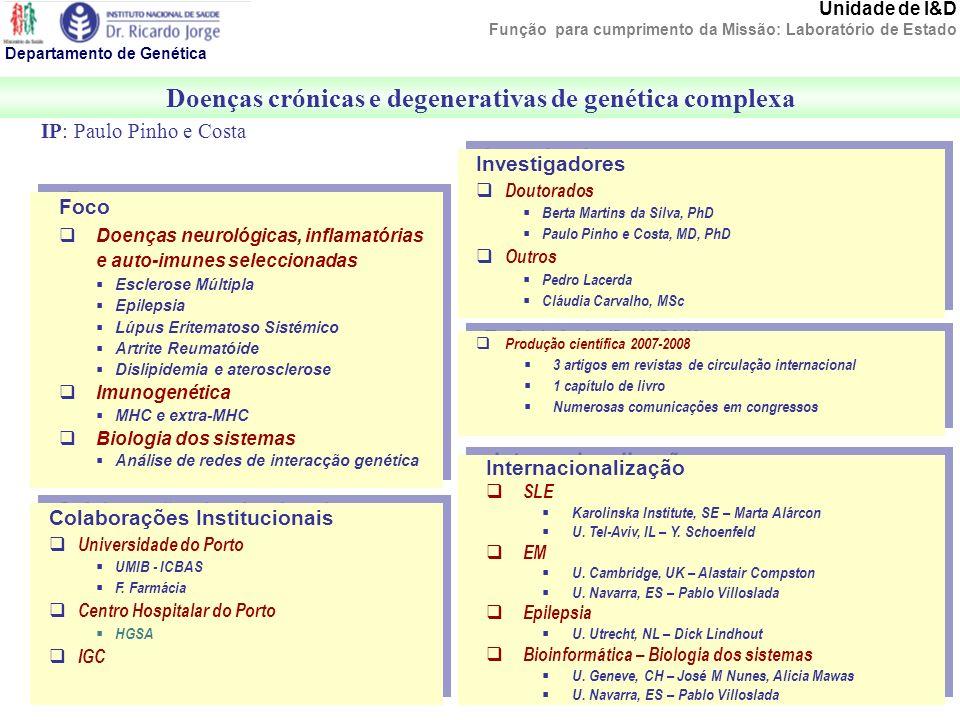 Unidade de I&D Função para cumprimento da Missão: Laboratório de Estado Doenças crónicas e degenerativas de genética complexa Departamento de Genética