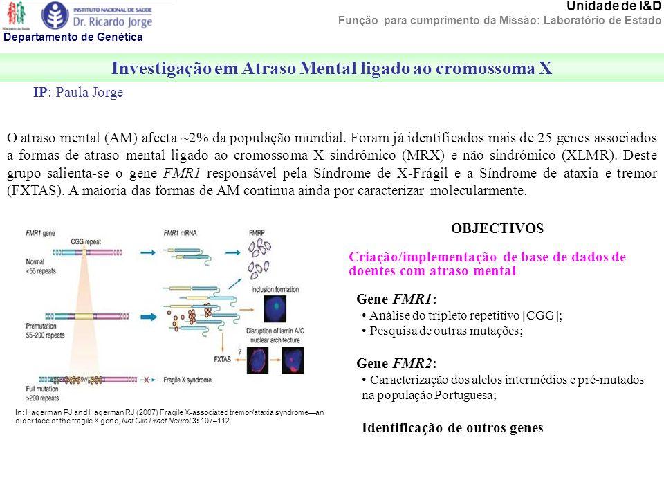 Departamento de Genética Investigação em Atraso Mental ligado ao cromossoma X O atraso mental (AM) afecta ~2% da população mundial. Foram já identific