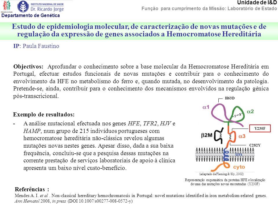 Unidade de I&D Função para cumprimento da Missão: Laboratório de Estado Estudo de epidemiologia molecular, de caracterização de novas mutações e de re