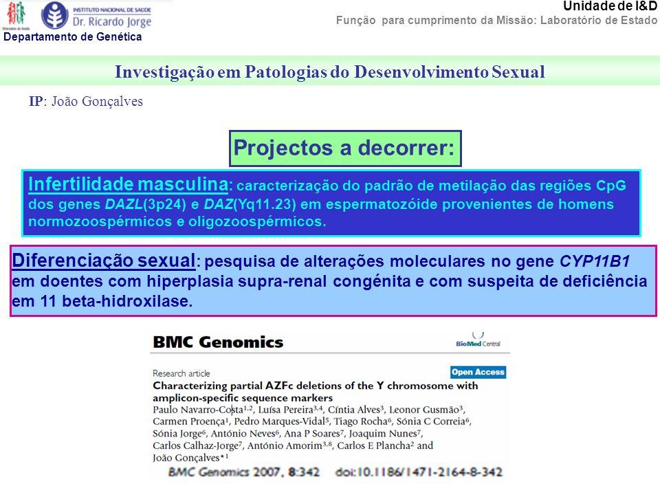 Investigação em Patologias do Desenvolvimento Sexual Departamento de Genética Unidade de I&D Função para cumprimento da Missão: Laboratório de Estado