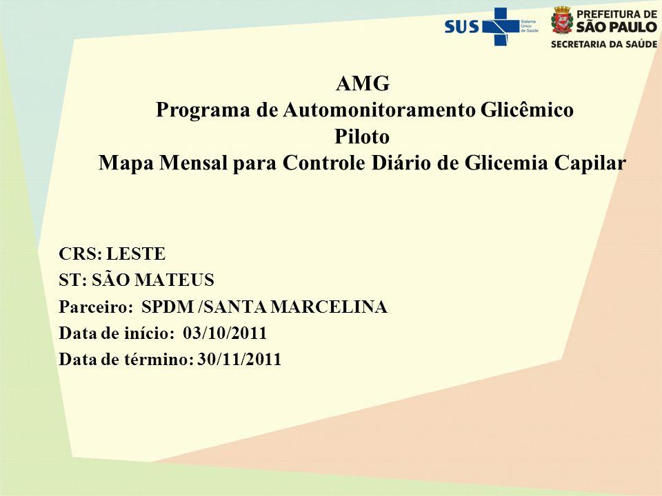 AMG Programa de Automonitoramento Glicêmico Piloto Mapa Mensal para Controle Diário de Glicemia Capilar CRS: LESTE ST: SÃO MATEUS Parceiro: SPDM /SANTA MARCELINA Data de início: 03/10/2011 Data de término: 30/11/2011