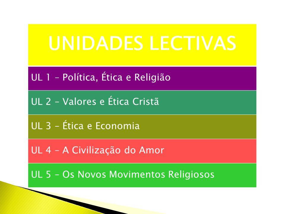 UNIDADES LECTIVAS UL 1 – Política, Ética e Religião UL 2 – Valores e Ética Cristã UL 3 – Ética e Economia UL 4 – A Civilização do Amor UL 5 – Os Novos Movimentos Religiosos