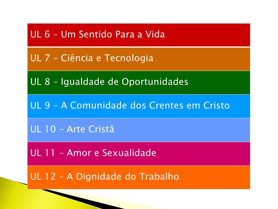 UL 6 – Um Sentido Para a Vida UL 7 – Ciência e Tecnologia UL 8 – Igualdade de Oportunidades UL 9 – A Comunidade dos Crentes em Cristo UL 10 – Arte Cristã UL 11 – Amor e Sexualidade UL 12 – A Dignidade do Trabalho