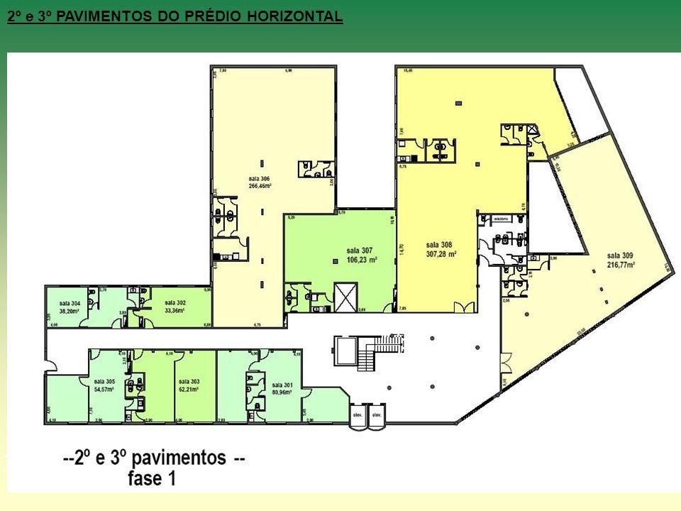 Área: 1491,6m² 2º e 3º PAVIMENTOS DO PRÉDIO HORIZONTAL Cada pavimento contará com hall de acesso, sala de espera, sanitários sociais, 04 (quatro) área