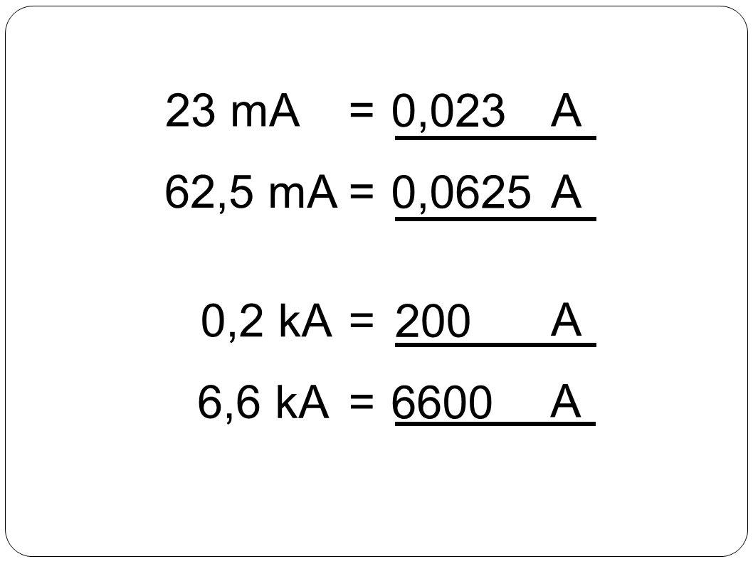 A kA MA GA nA A mA Para cada degrau descido, multiplique por 10 -3 Para cada degrau subido, multiplique por 10 3