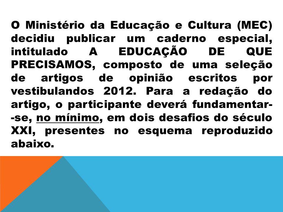 O Ministério da Educação e Cultura (MEC) decidiu publicar um caderno especial, intitulado A EDUCAÇÃO DE QUE PRECISAMOS, composto de uma seleção de art