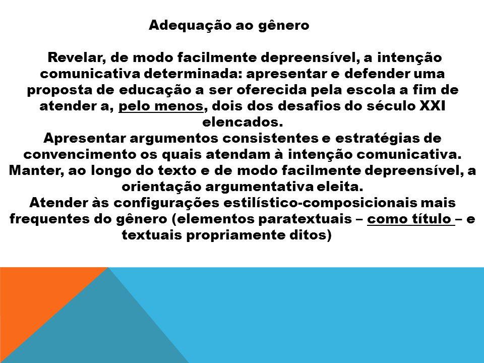 Adequação ao gênero Revelar, de modo facilmente depreensível, a intenção comunicativa determinada: apresentar e defender uma proposta de educação a se