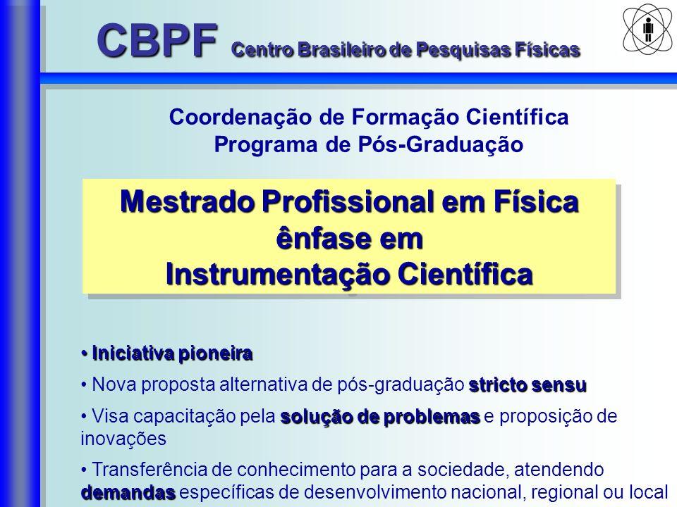 Coordenação de Formação Científica Programa de Pós-Graduação Mestrado Profissional em Física ênfase em Instrumentação Científica Mestrado Profissional