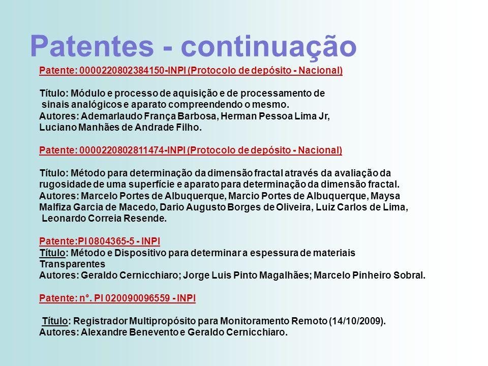 Patentes - continuação Patente: 0000220802384150-INPI (Protocolo de depósito - Nacional) Título: Módulo e processo de aquisição e de processamento de
