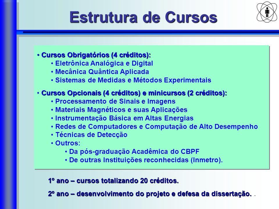 Estrutura de Cursos 1º ano – cursos totalizando 20 créditos. 2º ano – desenvolvimento do projeto e defesa da dissertação. 2º ano – desenvolvimento do