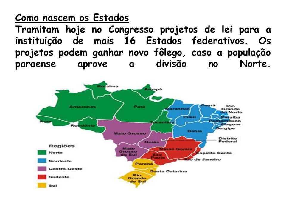 Como nascem os Estados Tramitam hoje no Congresso projetos de lei para a instituição de mais 16 Estados federativos. Os projetos podem ganhar novo fôl