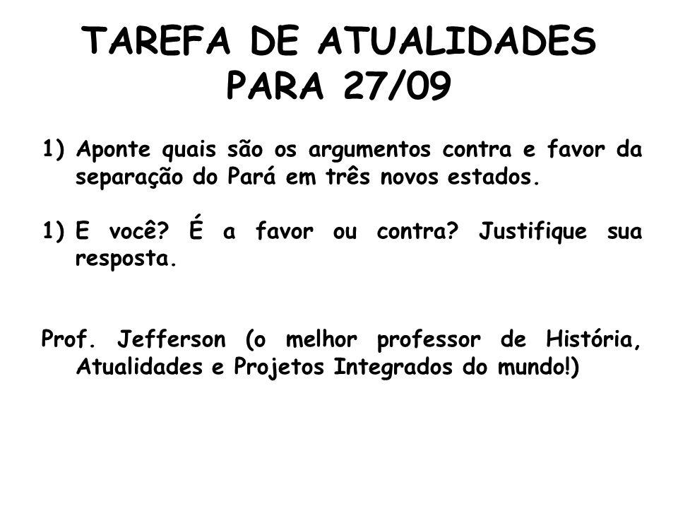 TAREFA DE ATUALIDADES PARA 27/09 1)Aponte quais são os argumentos contra e favor da separação do Pará em três novos estados. 1)E você? É a favor ou co