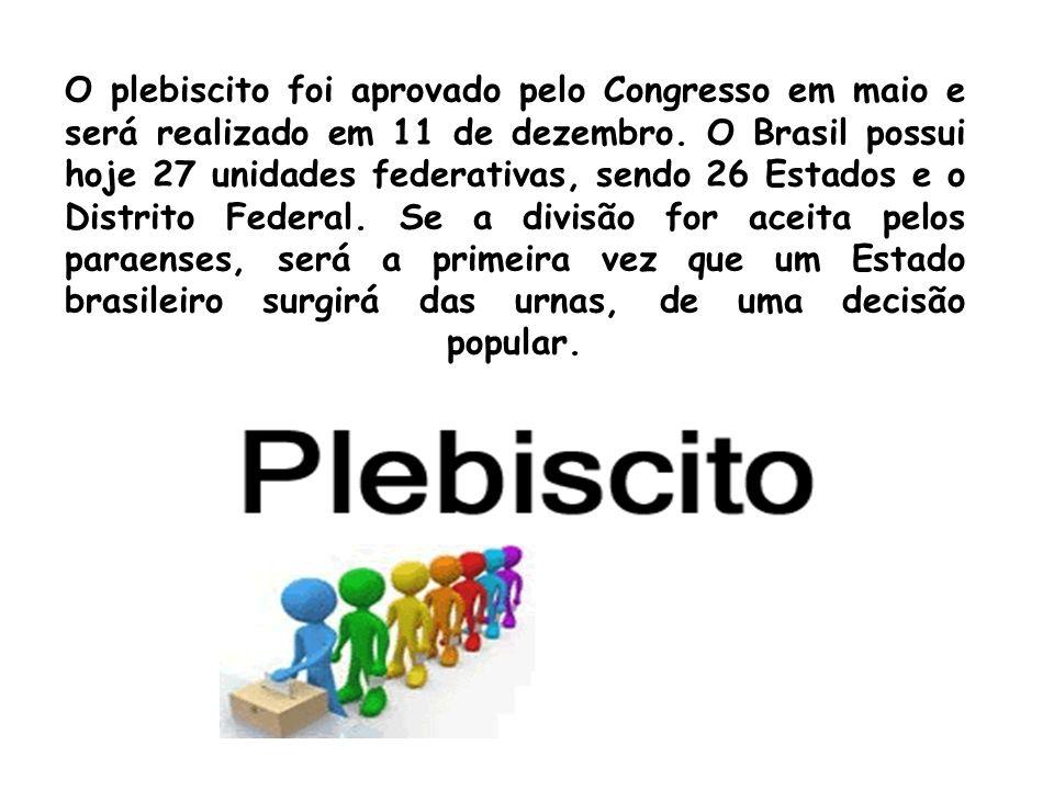 O plebiscito foi aprovado pelo Congresso em maio e será realizado em 11 de dezembro. O Brasil possui hoje 27 unidades federativas, sendo 26 Estados e