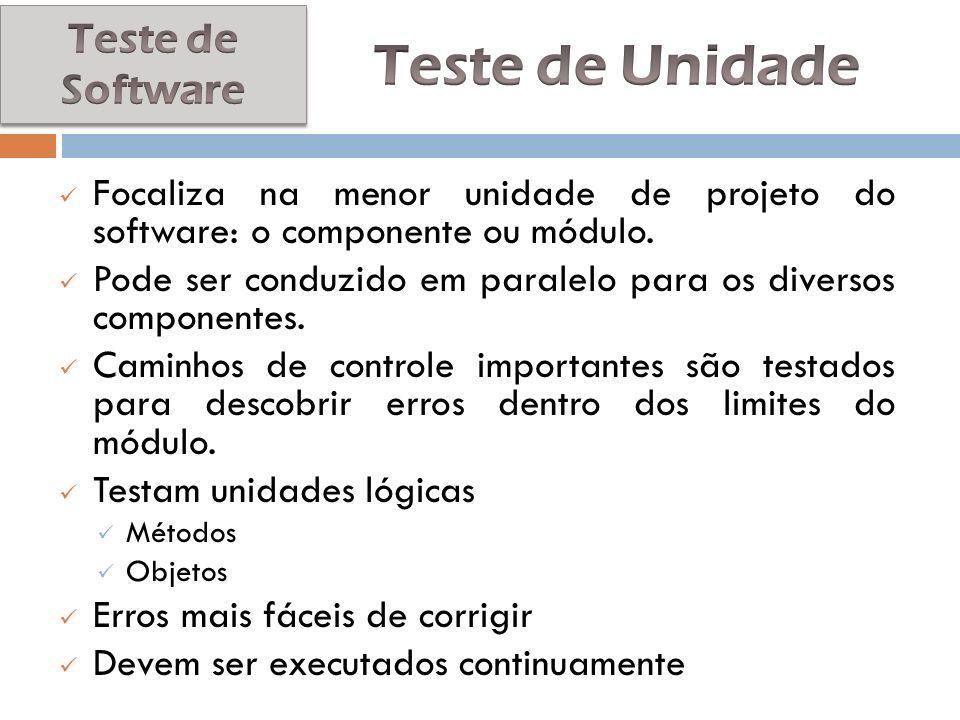 Focaliza na menor unidade de projeto do software: o componente ou módulo. Pode ser conduzido em paralelo para os diversos componentes. Caminhos de con