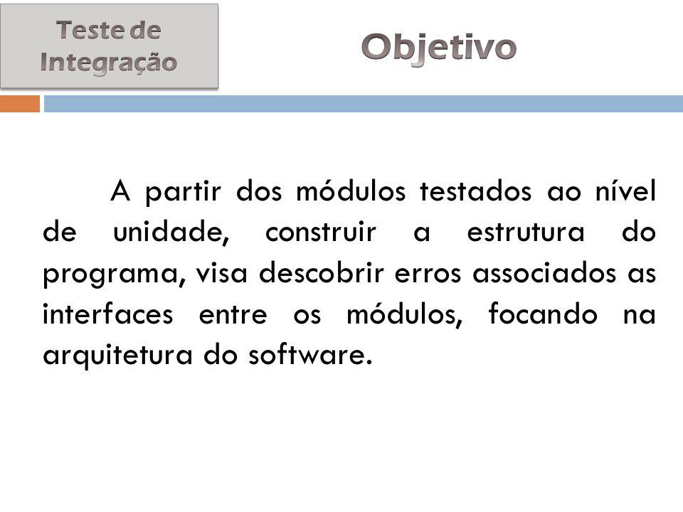 A partir dos módulos testados ao nível de unidade, construir a estrutura do programa, visa descobrir erros associados as interfaces entre os módulos,