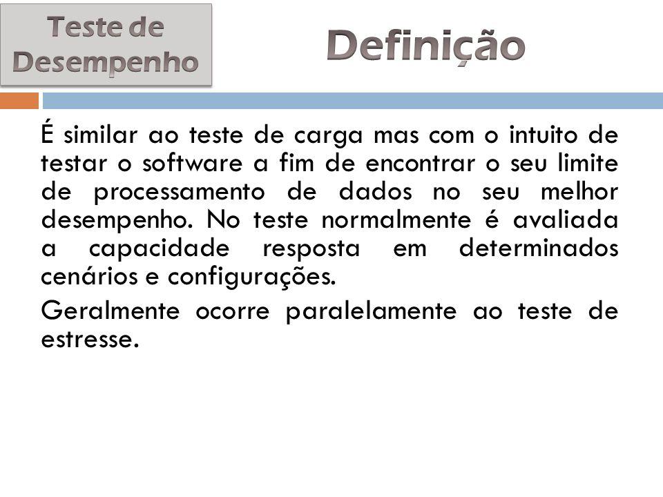 É similar ao teste de carga mas com o intuito de testar o software a fim de encontrar o seu limite de processamento de dados no seu melhor desempenho.