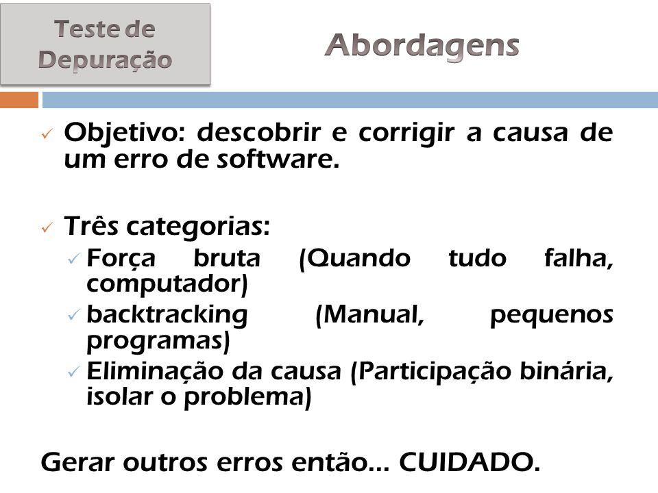 Objetivo: descobrir e corrigir a causa de um erro de software. Três categorias: Força bruta (Quando tudo falha, computador) backtracking (Manual, pequ
