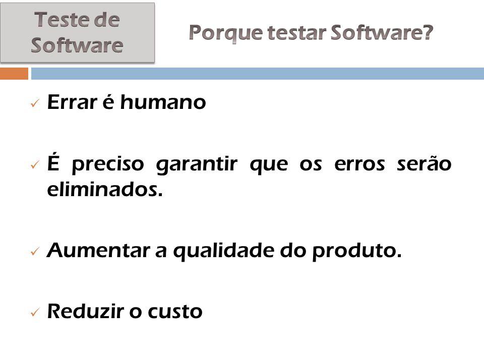 Errar é humano É preciso garantir que os erros serão eliminados. Aumentar a qualidade do produto. Reduzir o custo