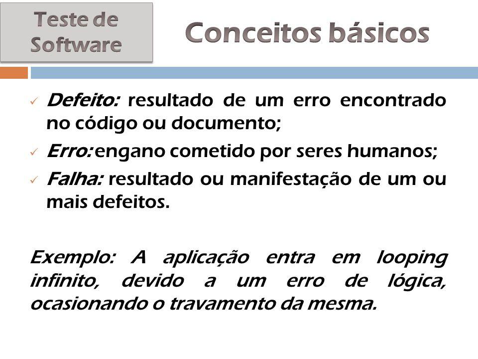 Defeito: resultado de um erro encontrado no código ou documento; Erro: engano cometido por seres humanos; Falha: resultado ou manifestação de um ou ma