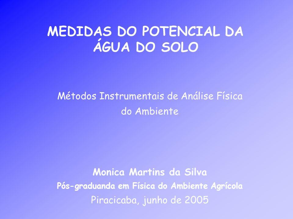 MEDIDAS DO POTENCIAL DA ÁGUA DO SOLO Métodos Instrumentais de Análise Física do Ambiente Monica Martins da Silva Pós-graduanda em Física do Ambiente A