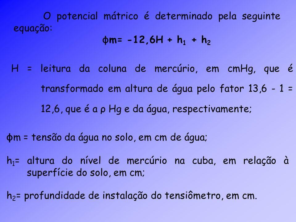 O potencial mátrico é determinado pela seguinte equação: ϕ m= -12,6H + h 1 + h 2 H = leitura da coluna de mercúrio, em cmHg, que é transformado em alt