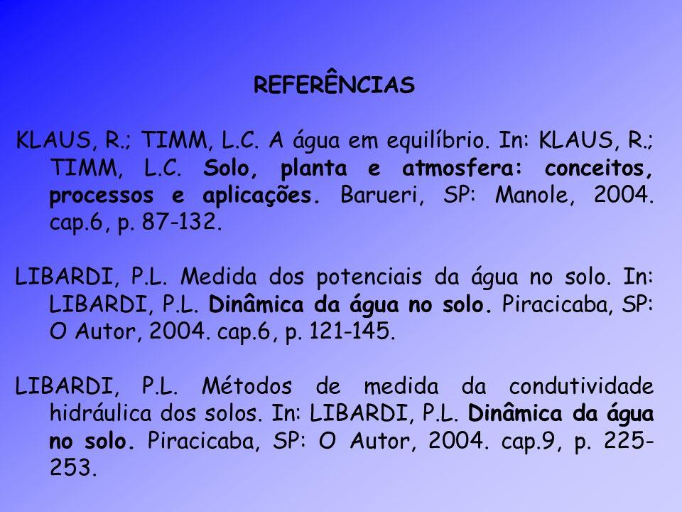 REFERÊNCIAS KLAUS, R.; TIMM, L.C. A água em equilíbrio. In: KLAUS, R.; TIMM, L.C. Solo, planta e atmosfera: conceitos, processos e aplicações. Barueri