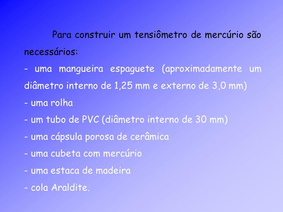 Para construir um tensiômetro de mercúrio são necessários: - uma mangueira espaguete (aproximadamente um diâmetro interno de 1,25 mm e externo de 3,0