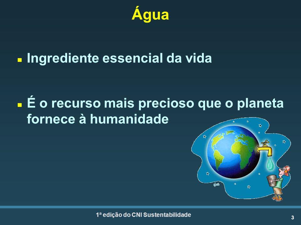 3 1ª edição do CNI Sustentabilidade Água n Ingrediente essencial da vida n É o recurso mais precioso que o planeta fornece à humanidade