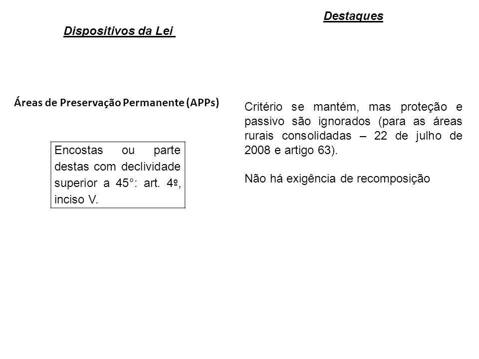 Áreas de Preservação Permanente (APPs) Encostas ou parte destas com declividade superior a 45°: art.