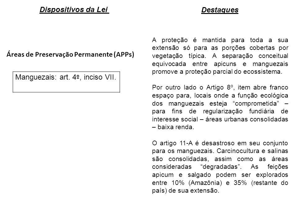 Áreas de Preservação Permanente (APPs) Manguezais: art. 4 º, inciso VII. A proteção é mantida para toda a sua extensão só para as porções cobertas por