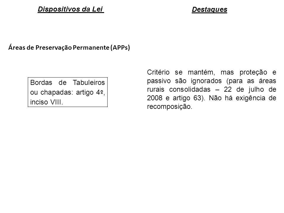 Áreas de Preservação Permanente (APPs) Bordas de Tabuleiros ou chapadas: artigo 4 º, inciso VIII. Critério se mantém, mas proteção e passivo são ignor