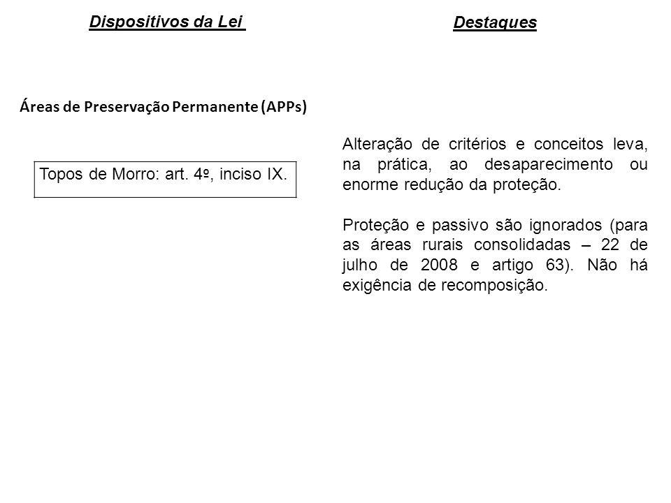 Áreas de Preservação Permanente (APPs) Topos de Morro: art. 4 º, inciso IX. Alteração de critérios e conceitos leva, na prática, ao desaparecimento ou