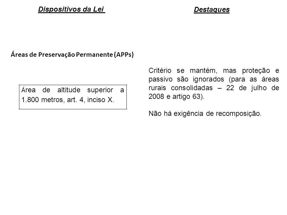 Áreas de Preservação Permanente (APPs) Á rea de altitude superior a 1.800 metros, art. 4, inciso X. Critério se mantém, mas proteção e passivo são ign