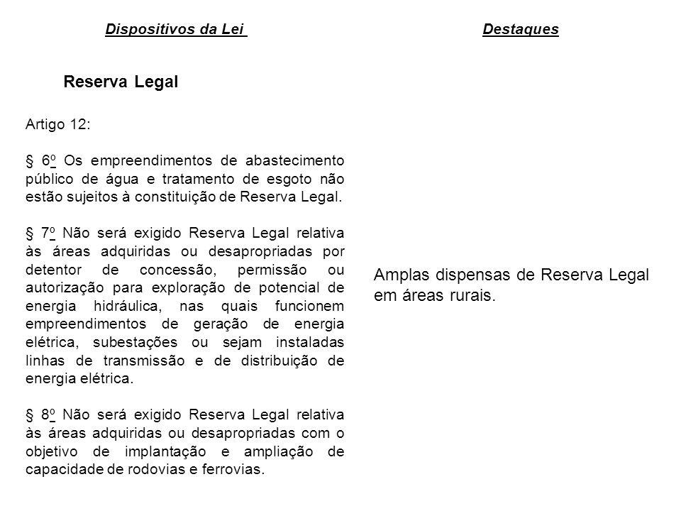 Reserva Legal Amplas dispensas de Reserva Legal em áreas rurais. Dispositivos da Lei Destaques Artigo 12: § 6º Os empreendimentos de abastecimento púb