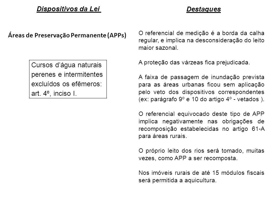 Áreas de Preservação Permanente (APPs) Cursos dágua naturais perenes e intermitentes excluídos os efêmeros: art. 4º, inciso I. O referencial de mediçã