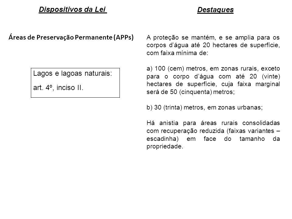 Áreas de Preservação Permanente (APPs) Lagos e lagoas naturais: art. 4º, inciso II. A proteção se mantém, e se amplia para os corpos dágua até 20 hect
