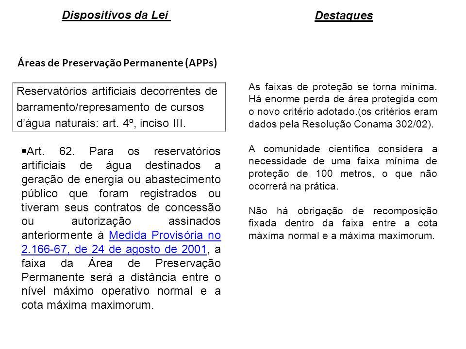 Áreas de Preservação Permanente (APPs) Reservatórios artificiais decorrentes de barramento/represamento de cursos dágua naturais: art.