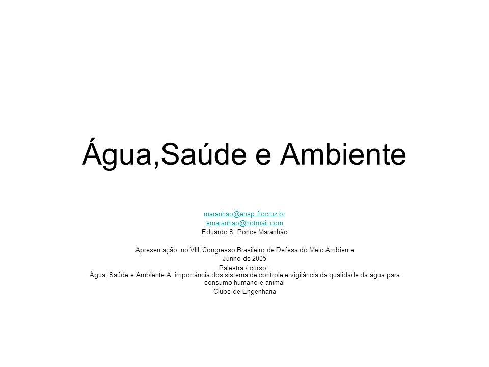 Água,Saúde e Ambiente maranhao@ensp.fiocruz.br emaranhao@hotmail.com Eduardo S. Ponce Maranhão Apresentação no VIII Congresso Brasileiro de Defesa do