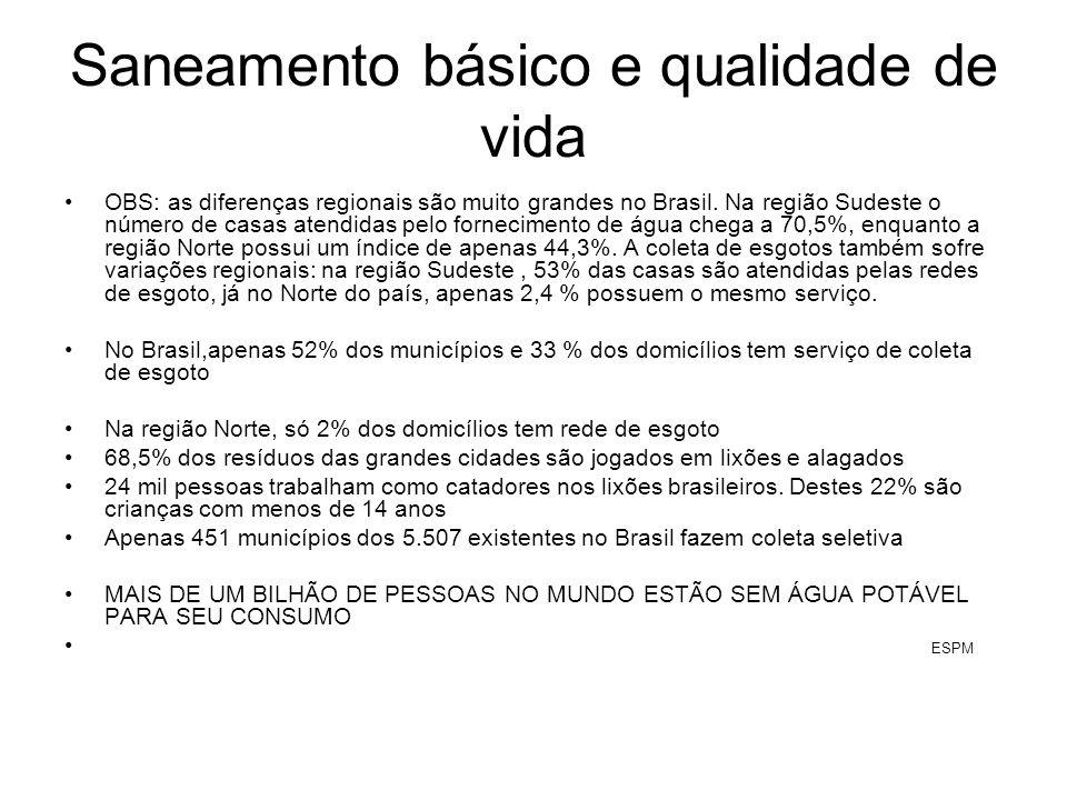 Saneamento básico e qualidade de vida OBS: as diferenças regionais são muito grandes no Brasil. Na região Sudeste o número de casas atendidas pelo for