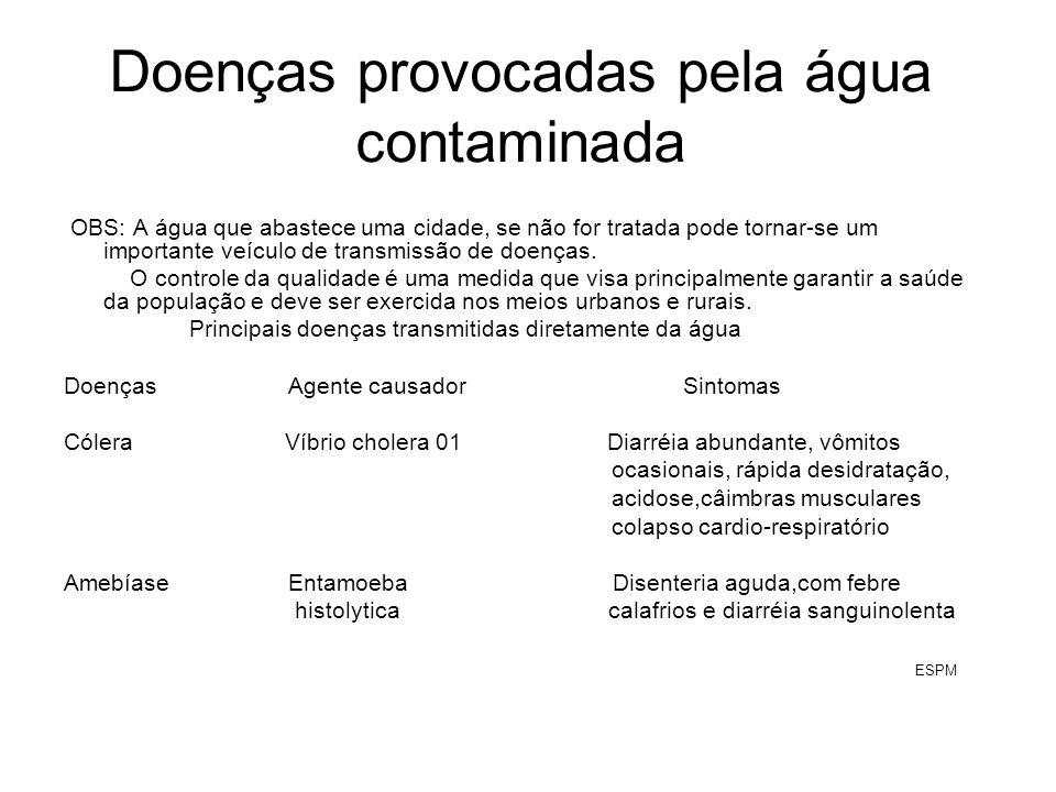 Doenças provocadas pela água contaminada[cont.] Doenças Agente causador sintomas Gastrenterite viral Rotavírus Diarréia, vômitos, levando a desidratação grave Hepatite Vírus da hepatite A Febre, mal-estar geral, falta de apetite,icterícia Desinteria bacilar bactéria Shigella Febre com sangue e pus, vômitos e cólicas ESPM