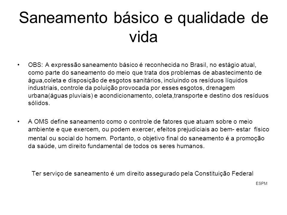 Saneamento básico e qualidade de vida OBS: A expressão saneamento básico é reconhecida no Brasil, no estágio atual, como parte do saneamento do meio q