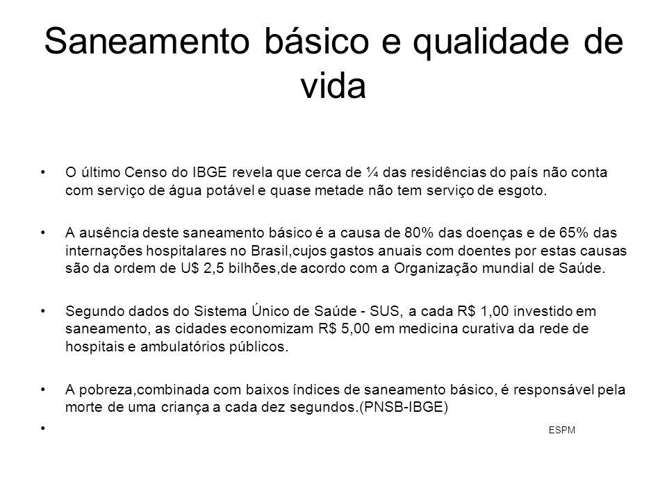 Saneamento básico e qualidade de vida O último Censo do IBGE revela que cerca de ¼ das residências do país não conta com serviço de água potável e qua
