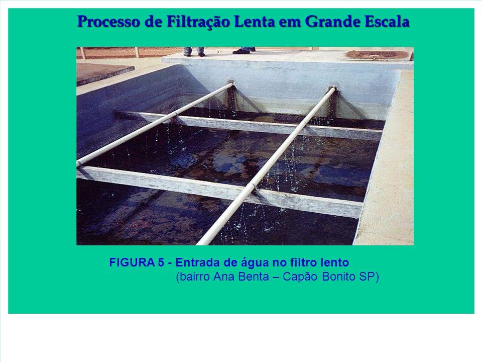 FIGURA 5 - Entrada de água no filtro lento (bairro Ana Benta – Capão Bonito SP) Processo de Filtração Lenta em Grande Escala