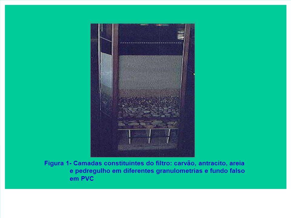 Figura 1- Camadas constituintes do filtro: carvão, antracito, areia e pedregulho em diferentes granulometrias e fundo falso em PVC