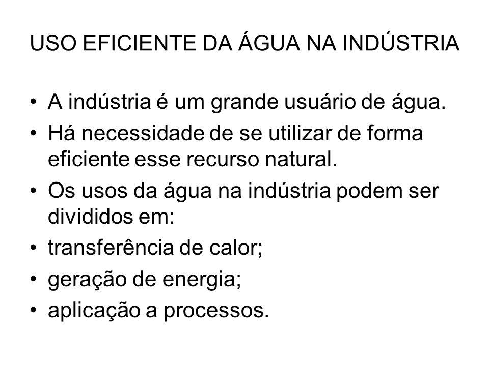 USO EFICIENTE DA ÁGUA NA INDÚSTRIA A indústria é um grande usuário de água. Há necessidade de se utilizar de forma eficiente esse recurso natural. Os