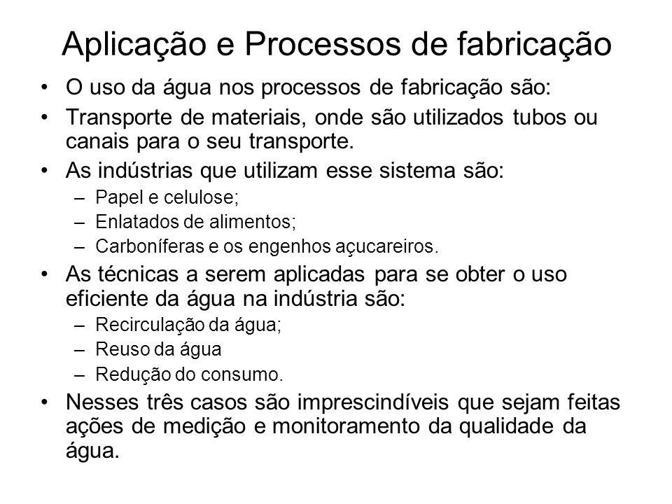 Aplicação e Processos de fabricação O uso da água nos processos de fabricação são: Transporte de materiais, onde são utilizados tubos ou canais para o