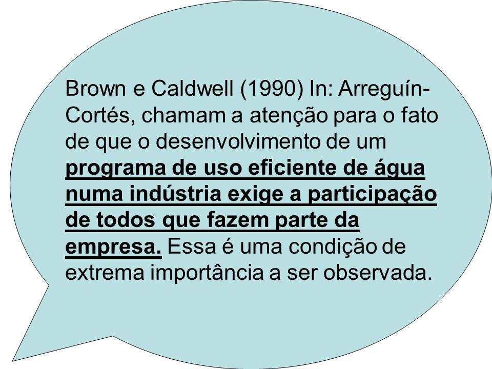 Brown e Caldwell (1990) In: Arreguín- Cortés, chamam a atenção para o fato de que o desenvolvimento de um programa de uso eficiente de água numa indús