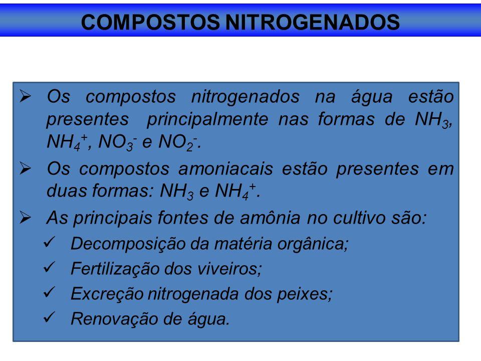 Os compostos nitrogenados na água estão presentes principalmente nas formas de NH 3, NH 4 +, NO 3 - e NO 2 -.