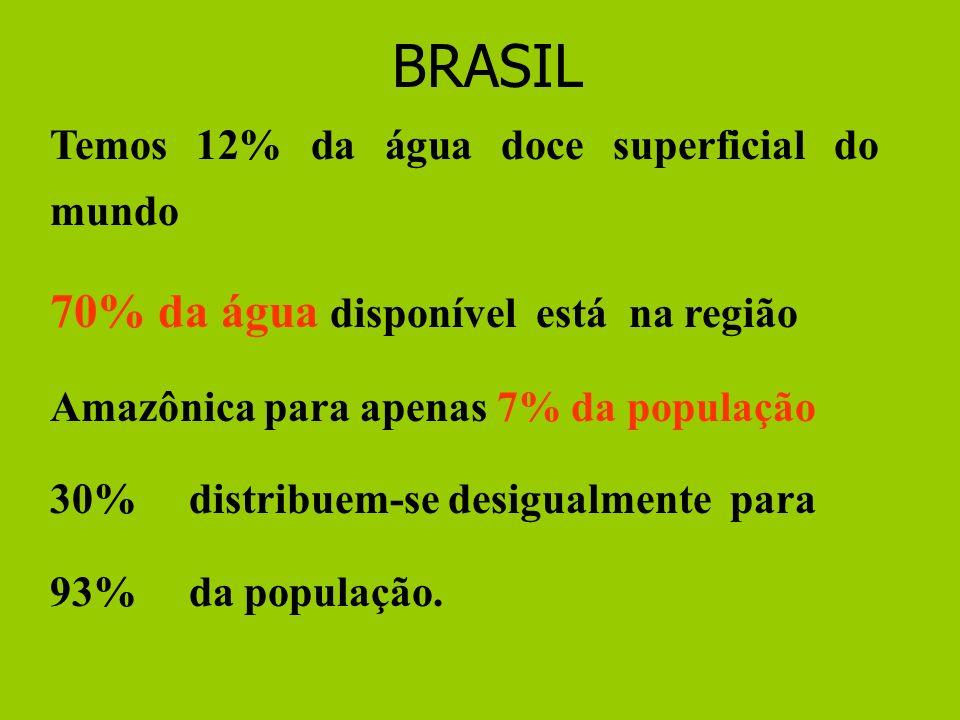 Temos 12% da água doce superficial do mundo 70% da água disponível está na região Amazônica para apenas 7% da população 30% distribuem-se desigualmente para 93% da população.